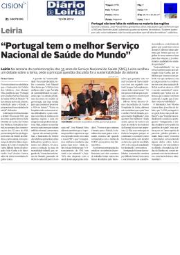 """""""Portugal tem o melhor Serviço Nacional de Saúde do Mundo"""""""