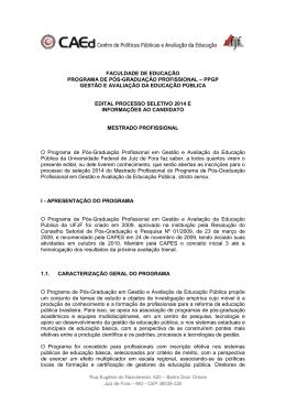 Edital processo seletivo 2014