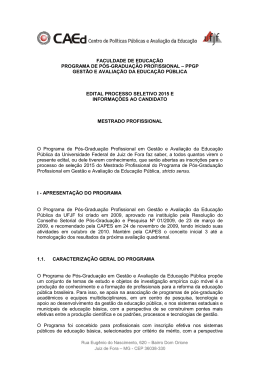 Edital 2015 - Mestrado em Gestão e Avaliação da Educação Pública