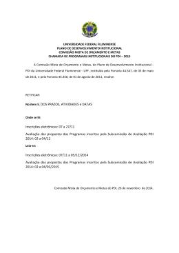 No item 5. DOS PRAZOS, ATIVIDADES e DATAS Inscrições
