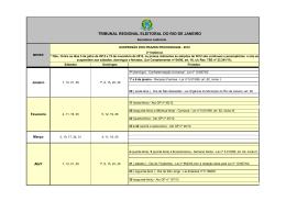 Calendário TRE-RJ - Suspensão de prazos - 2012