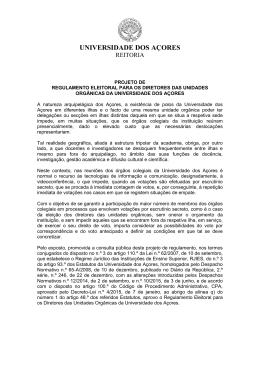 Regulamento Eleitoral para os Directores das Unidades Orgânicas