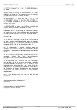 PORTARIA CONJUNTA N.º 11/2014-TJ, DE 30 DE JUNHO