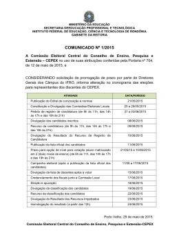 Alteração do cronograma eleição discentes CEPEX.