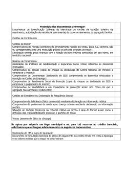 Fotocópia dos documentos a entregar: Documentos de Identificação
