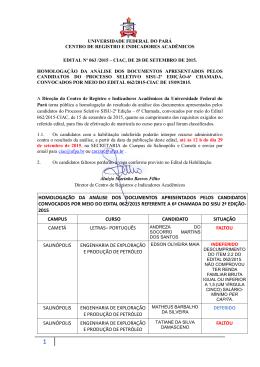 homologação da análise dos documentos apresentados