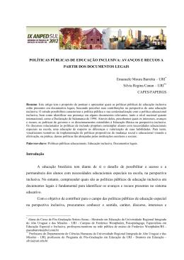 POLÍTICAS PÚBLICAS DE EDUCAÇÃO INCLUSIVA