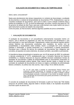 1 AVALIAÇÃO DE DOCUMENTOS E TABELA DE