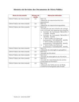 Histórico de Revisões dos Documentos de Oferta Pública