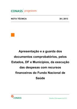 Apresentação e a guarda dos documentos comprobatórios