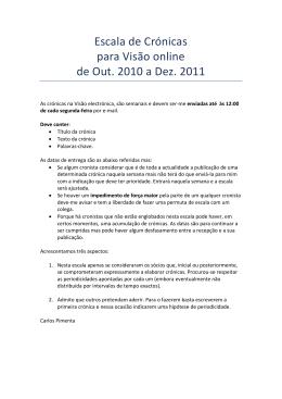 Escala de Crónicas para Visão online de Out. 2010 a Dez. 2011