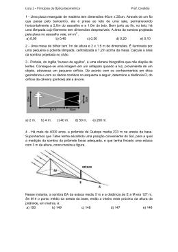 Lista 1 – Princípios da Óptica Geométrica Prof. Credidio 1