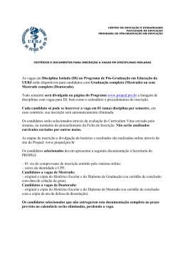 Critérios e Documentação para Inscrição em Disciplinas