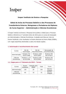 Insper Instituto de Ensino e Pesquisa Edital de Aviso do Processo