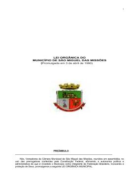 Lei Orgânica - Câmara Municipal de São Miguel das Missões