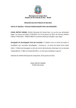 Edital nº 004/2015 - Prefeitura Municipal de Campo Bom