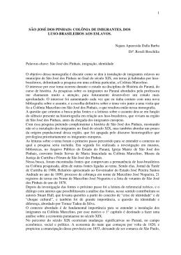 1 SÃO JOSÉ DOS PINHAIS: COLÔNIA DE IMIGRANTES, DOS