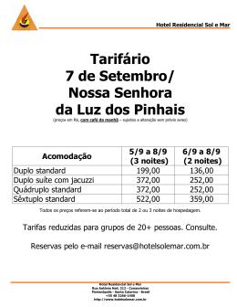 Tarifário 7 de Setembro  Nossa Senhora da Luz dos Pinhais 66840b3643073