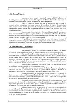 Direito Civil 1. Da Pessoa Natural. 1.1. Personalidade e Capacidade