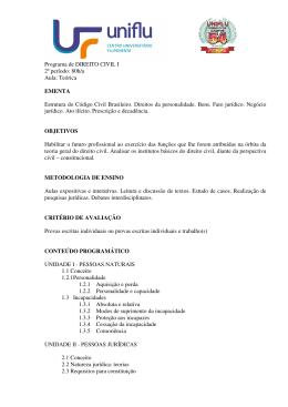 Programa de DIREITO CIVIL I 2º período: 80h/a Aula