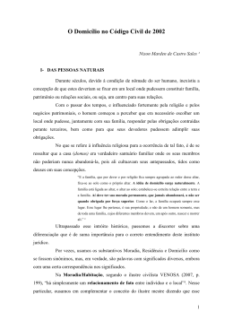 O DOMICÍLIO CIVIL NO CÓDIGO CIVIL DE 2002