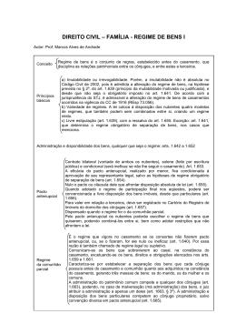 DIREITO CIVIL – FAMÍLIA - REGIME DE BENS I