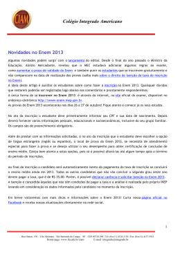 Colégio Integrado Americano Novidades no Enem 2013
