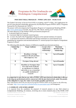 POST-DOCTORAL PROGRAM – PNPD/CAPES 2015 – PGMC/UFJF