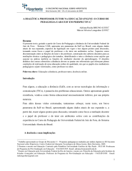 A DIALÉTICA PROFESSOR-TUTOR NA EDUCAÇÃO ONLINE: O