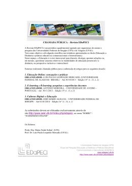 CHAMADA PÚBLICA – Revista EDaPECI 1. Educação Online