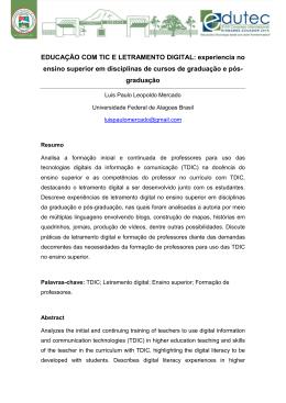 EDUCAÇÃO COM TIC E LETRAMENTO DIGITAL