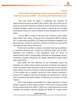 Resumo Aula-tema 08: Contextualização e Análise Comparativa do