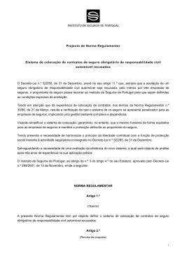 Projecto de Regulamentação - Sistema de colocação de