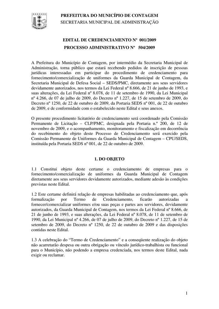 Acessar o Edital - Prefeitura de Contagem