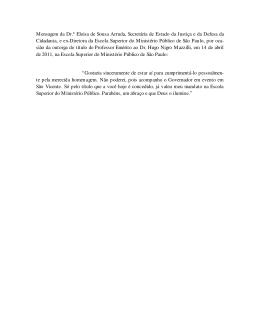 Mensagem da Dr.ª Eloisa de Sousa Arruda, Secretária de Estado da