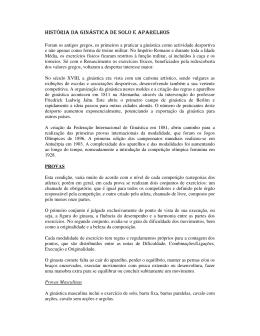 HISTÓRIA DA GINÁSTICA DE SOLO E APARELHOS