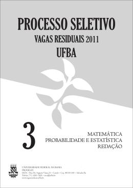 Prova - Vagas Residuais- UFBA - Universidade Federal da Bahia