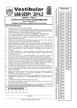 Prova - TIPO 2 - Licenciatura Plena em Matemática - Nucepe