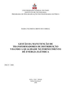 gestão da manutenção de transformadores de distribuição visando