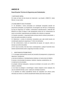Especificação Técnica de Segurança para Subestações