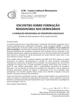ENCONTRO SOBRE FORMAÇÃO MISSIONÁRIA NOS SEMINÁRIOS