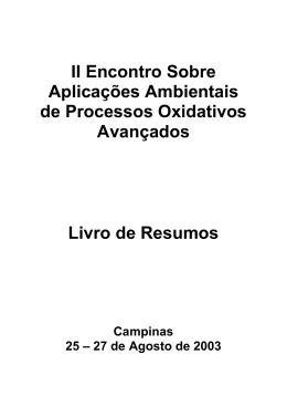 II Encontro Sobre Aplicações Ambientais de Processos Oxidativos