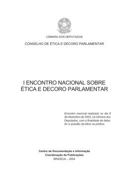 i encontro nacional sobre ética e decoro parlamentar