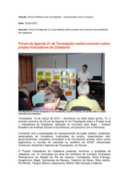 Fórum da Agenda 21 de Teresópolis realiza encontro sobre projeto