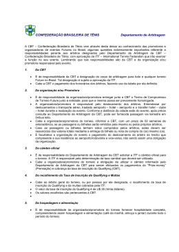 CONFEDERAÇÃO BRASILEIRA DE TÊNIS Departamento de