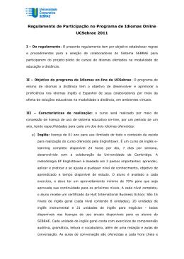 Regulamento idiomas on-line