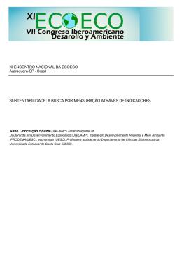XI ENCONTRO NACIONAL DA ECOECO Araraquara-SP
