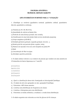 Lista de exercícios de revisão