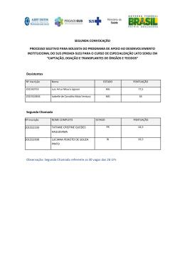 segunda convocação processo seletivo para bolsista do programa