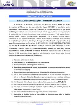 (Edital de PRIMEIRA CONVOCAÇÃO Processo Seletivo